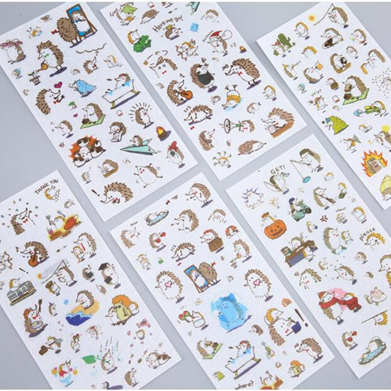 6 Sheets/pack Playful Hedgehog Decorative Stickers Diy Scrapbooking Diary Album Stick Label Decor
