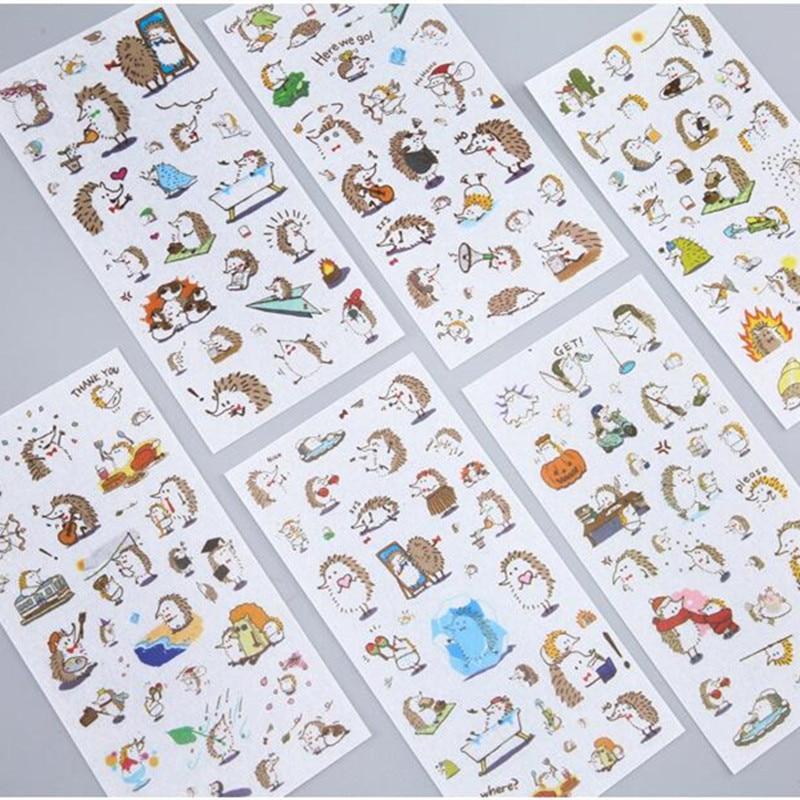 6 Sheets/pack Playful Hedgehog Decorative Stickers Diy Scrapbooking Diary Album Stick Label Decor