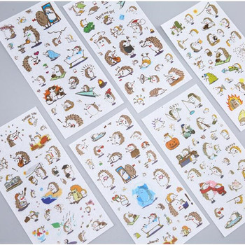 6 Sheets/pack Playful Hedgehog Decorative Stickers Diy Scrapbooking Diary Album Stick Label Decor - discount item  10% OFF Stationery Sticker