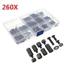 260Pcs/box M3NH2 M3 Nylon Screw Black Hex Screw Nut Nylon PCB Standoff Assortment Kit