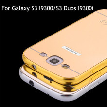 Luxury S3 Neo Gold Plating Aluminum Case Mirror Cover for Samsung Galaxy S3 Duos GT-I9300i Chrome Back Cover