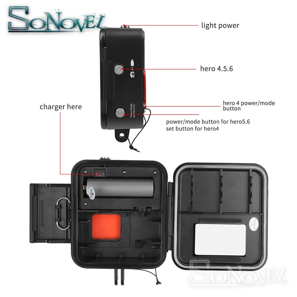 SHOOT 1000LM buceo luz LED funda impermeable para GoPro Hero 7 6 5 negro 4 3 + Cámara de Acción plateada con accesorio para Go Pro 7 6 - 2
