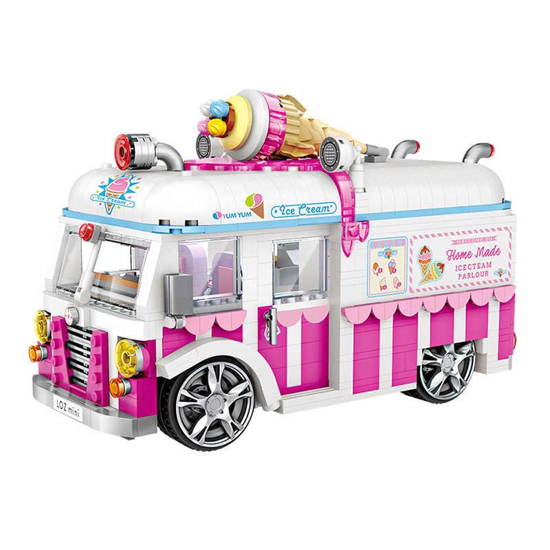 لوز مدينة اللبنات juguداعي شاحنة مثلجات هوت دوج سيارة الطوب الاطفال هدايا عيد لوز كتل صغيرة سيارات لعب للبنين بنات
