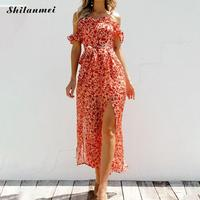 Women Sexy Loose Slit Casual Jumpsuits 2019 Summer Boho Jumpsuit Off The Shoulder Beach Jumpsuits Rompers Flower Print Overalls