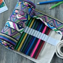 36 Holes Artist Pencils Pouch Case Pencil Wrap Pen Box Pencil Case Canvas Roll Up Makeups Storage Bag Comestic Bags недорого
