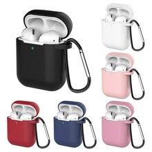 Silicone caso do fone de ouvido bluetooth para apple airpods 2 air pod acessórios 1:1 silicone case capa protetora da pele com keychain