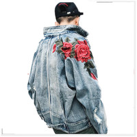 Spring Denim Jacket Women 2018 Female Jeans Jacket Fall Rose embroidery holes vintage denim jacket men and women lovers k266