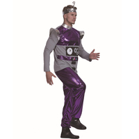 H&ZY Men Robot Alien Artificial Intelligence Costume Carnival Party Purple Adult Male Cosplay Outfits Clothing Halloween Suits