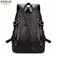 Викуньи поло высокое качество Практические Кожа PU мужские рюкзак известный бренд повседневная мужская для ноутбука рюкзак черный школьный рюкзак
