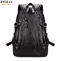 VICUNA POLO High Quality Practical PU Leather Mens Backpack Famous Brand Casual Men Laptop Backpack Black