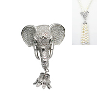 Beadsnice Elephant Clasp 925 Sterling Silver Cubic Zirconia Pendant For Long Tassel Necklace Making Gift Accessories