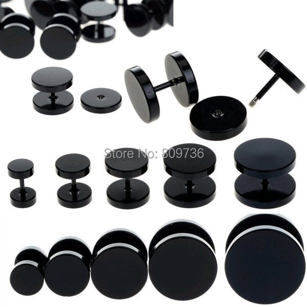 10pcs Black Stainless Steel Fake Cheater Ear Plugs Gauge Body Jewelry Pierceing Earring For Men