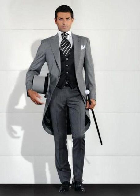 Automne Gris Italien Matin Style Gentleman Tailcoat 3 Pièces Marié Smokings  Hommes De Mariage De Bal 6b083c16b3b