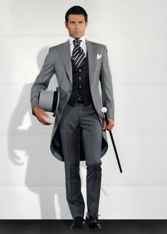 Autumn Gray Italian Morning Style Gentleman Tailcoat 3 Pieces Groom ...
