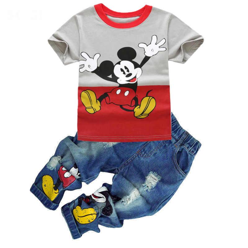 b6c6f3f1 Fashion Boys Clothing Set T shirt Jean Summer Suit Kids Sport suit Baby Boys  Girl Cartoon
