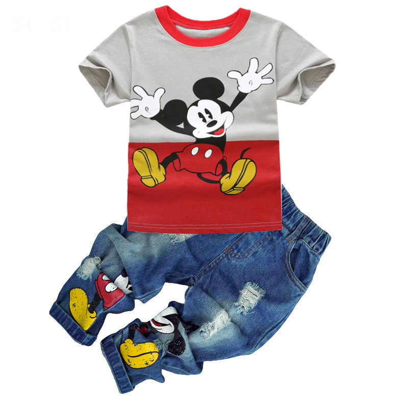 Fashion Boys Clothing Set T shirt + Jeans Summer Suit Kids Sport suit Baby Boys Girl Cartoon toddler boy For 2 3 4 5 6 7 Years summer baby boy clothing set jeans pants white gray t shirt children clothes 3 pieces sets for boys suit outfits 1 2 3 4 5 6 y
