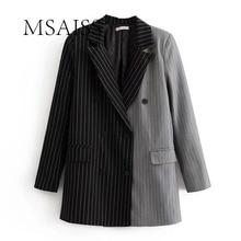 MSAISS Women Stylish Striped Spliced Blazer Notched Collar Suit