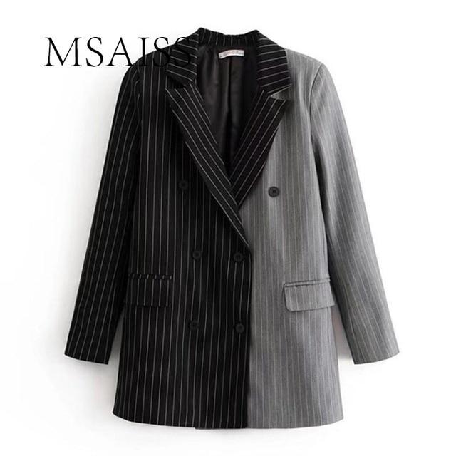 MSAISS Для женщин стильные в полоску Блейзер Зубчатый воротник пиджак пальто Повседневное женский костюм