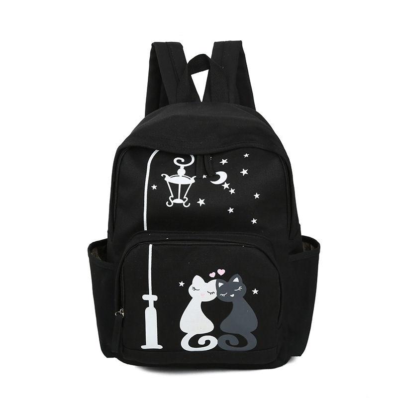RanHuang Women Canvas Backpack Cute Cat Printing Backpack School Bags For Teenage Girls Womens Casual Backpack Rucksacks