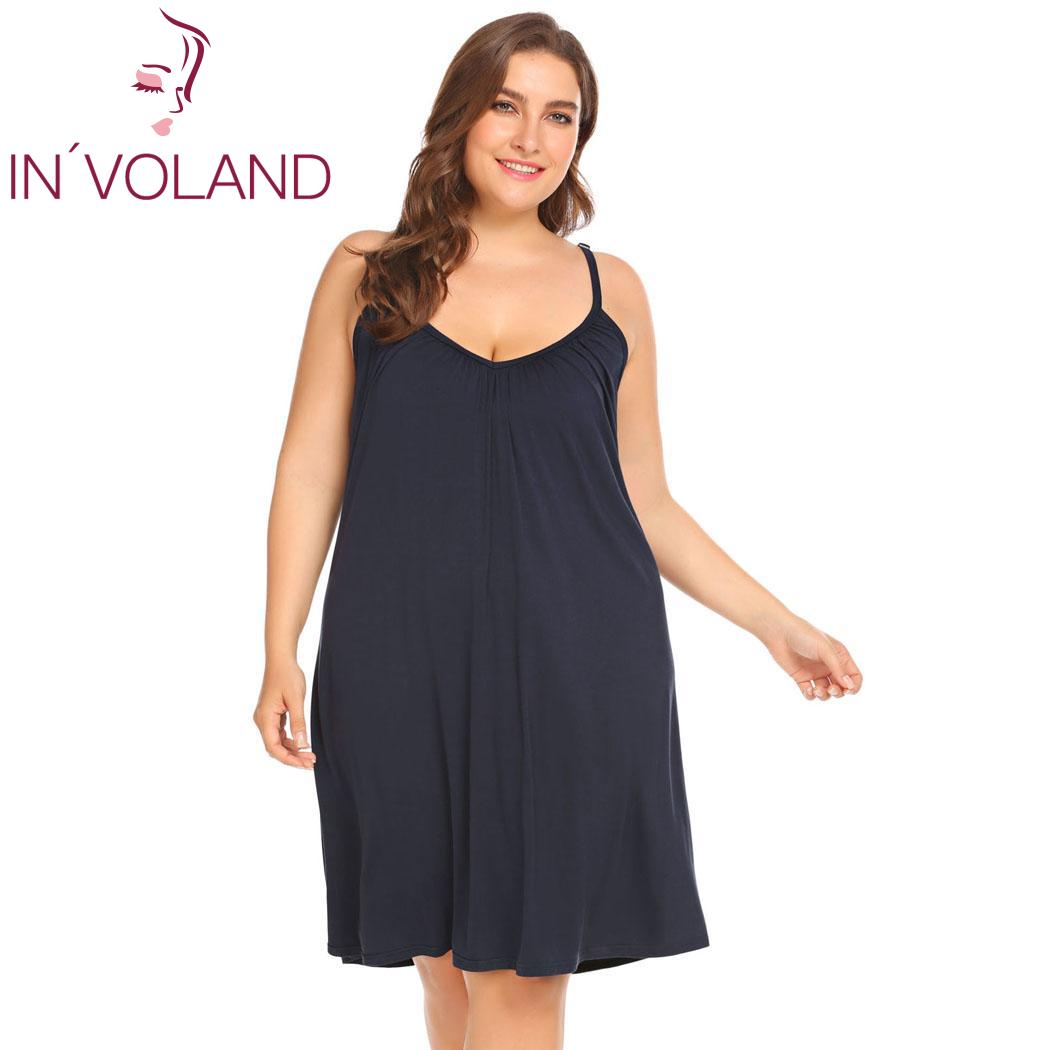 INVOLAND Summer Women Sleepwear Female Sexy Lingerie Spaghetti Strap Nightgown Plus Size 5XL Mini Dress Nightwear