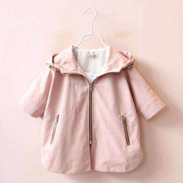 2016 autumn children's clothing girls trench cartoon half sleeve hooded zipper baby girl trench coats for girls kids cape coat