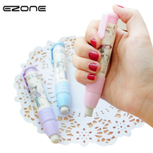 EZONE 1PC Creative Stationery Pencil Erasers Kawaii Pen Shape Eraser Hand Pressing Rubber For School Office Supplies