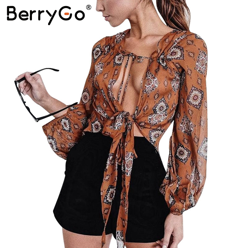 BerryGo Print v neck chiffon blouse shirt Women summer long sleeve crop top blouse 2017 Sexy streetwear bow female blouse blusas