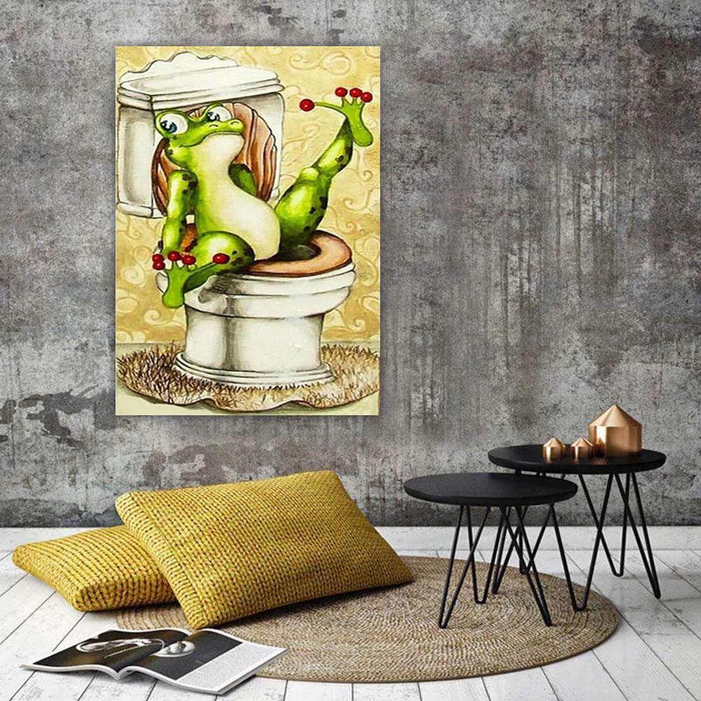 HUACAN DIY יהלומי ציור 5D צפרדע יהלומי רקמת קריקטורה מלא כיכר/עגול פסיפס צבע עם יהלומי תמונה של ריינסטון