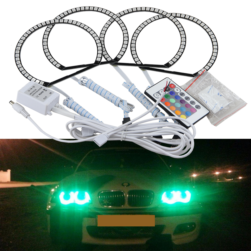 One Complete Set 7-Color RGB LED Angel Eye Halo Rings For BMW E39 E46 3 5 7 Series Headlights w/ Wireless IR Remote Controller one complete set 7 color rgb led angel eye halo rings for bmw e39 e46 3 5 7 series headlights w wireless ir remote controller