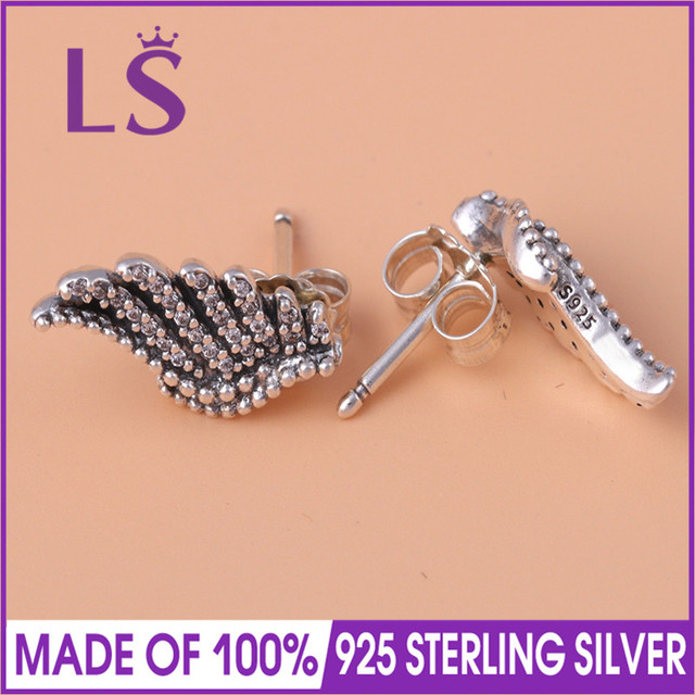 LS Hot Sale 925 Sterling Silver Majestic Feathers Stud Earrings For Women  Authentic Original Brand Fine Jewelry W