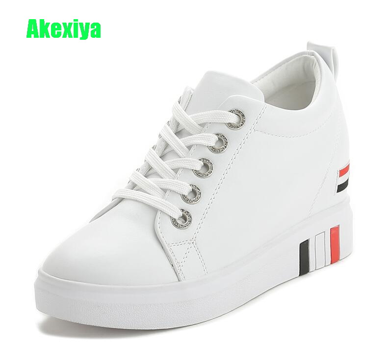 Akexiya New Fashion Leather Hidden Heel White Wedge Sneakers Women Platform White Lace Up Shoes Woman Casual Shoes cloth camouflage lace up hidden heel womens sneakers