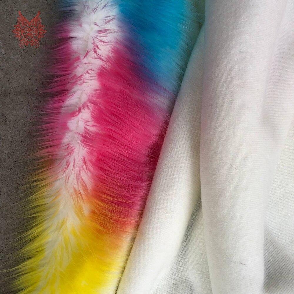 Coréen arc-en-ciel style cosplay 4cm longue fausse fourrure tissu coloré pour manteau décoratif tapis fausse fourrure tissu pelliccia SP5780 - 6