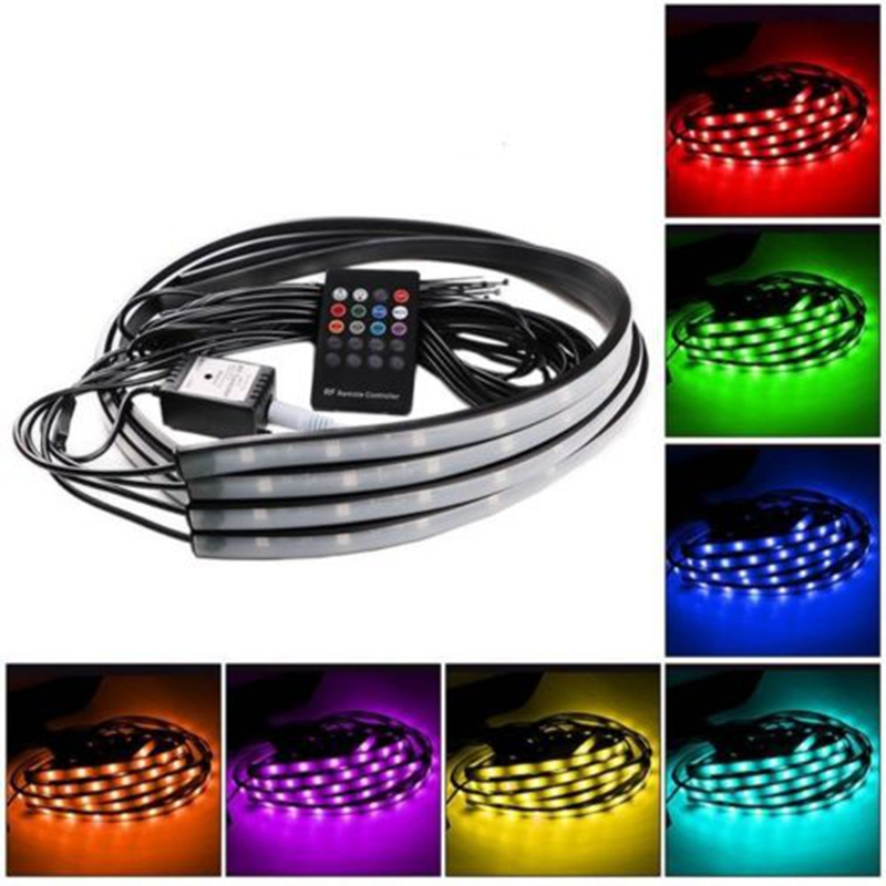 60/90cm Car RGB LED Strip 5050 SMD DC12V 6000K RGB LED Strip Under Car Tube Underglow Underbody System Neon Light Kit Hot Sell