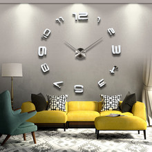 New Large 3D Digital Wall Clock For Living Room DIY Big Creative Novelty Watch Wall Modern Design Clock On Wall Home Decor