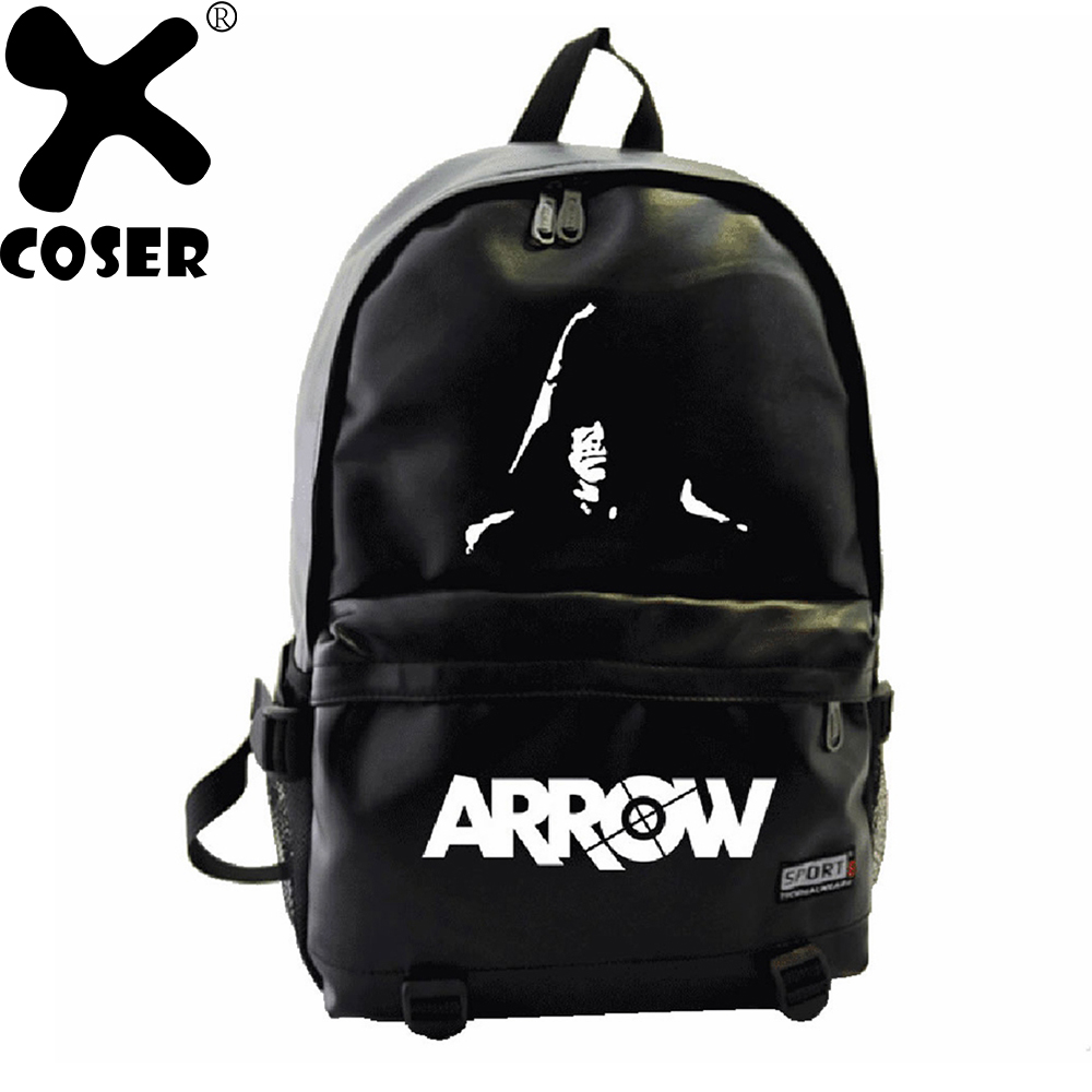 XCOSER Green Arrow Backpack Movie Character Printing Black Bags Cosplay Props  Accessories Casual Backpack For Women Men