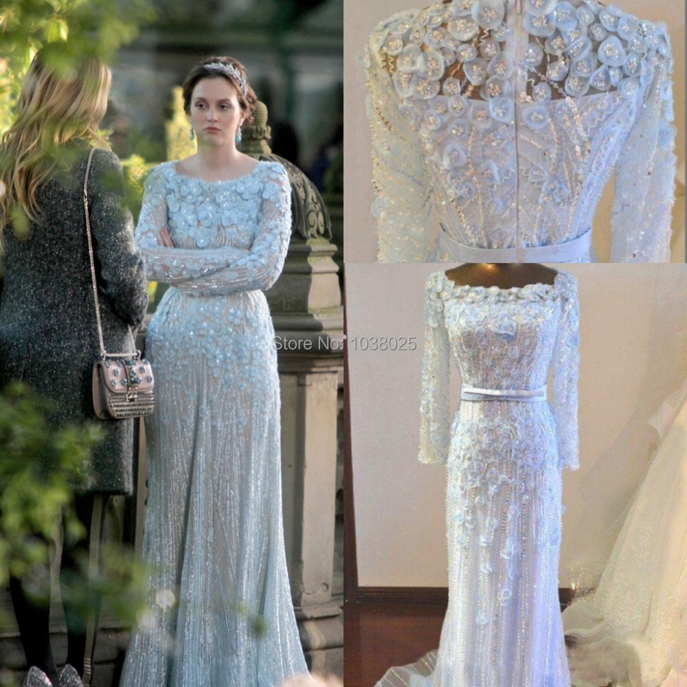 New Gossip Girl Blair Long Sleeves Appliques Beaded Sequins Court Train Elie Saab Celebrity Dresses Prom Gowns In Inspired From Weddings