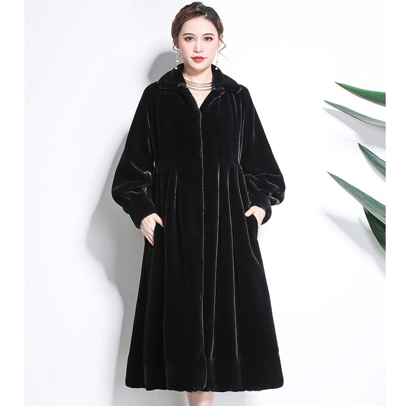 Nerazzurri Winter Faux Fur Coat Women 2019 Furry Thicken Full Skirt Fake Sheared Mink Fur Coats Plus Size Outwear  5xl 6xl 7xl