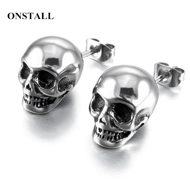 Original design new tide male ear nail rock personality earrings hip hop punk men's earrings Skull titanium steel boys