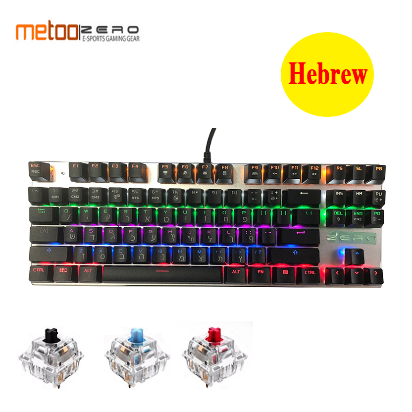 Metoo Edition Mechanical Keyboard 87 keys Blue Switch Gaming Keyboards for Tablet Desktop Russian sticker Hebrew