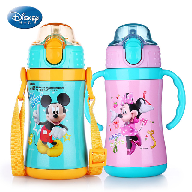 disney feeding cup with straw childrens bottle for hot water portable rope kawaii bebe - Disney Bebe
