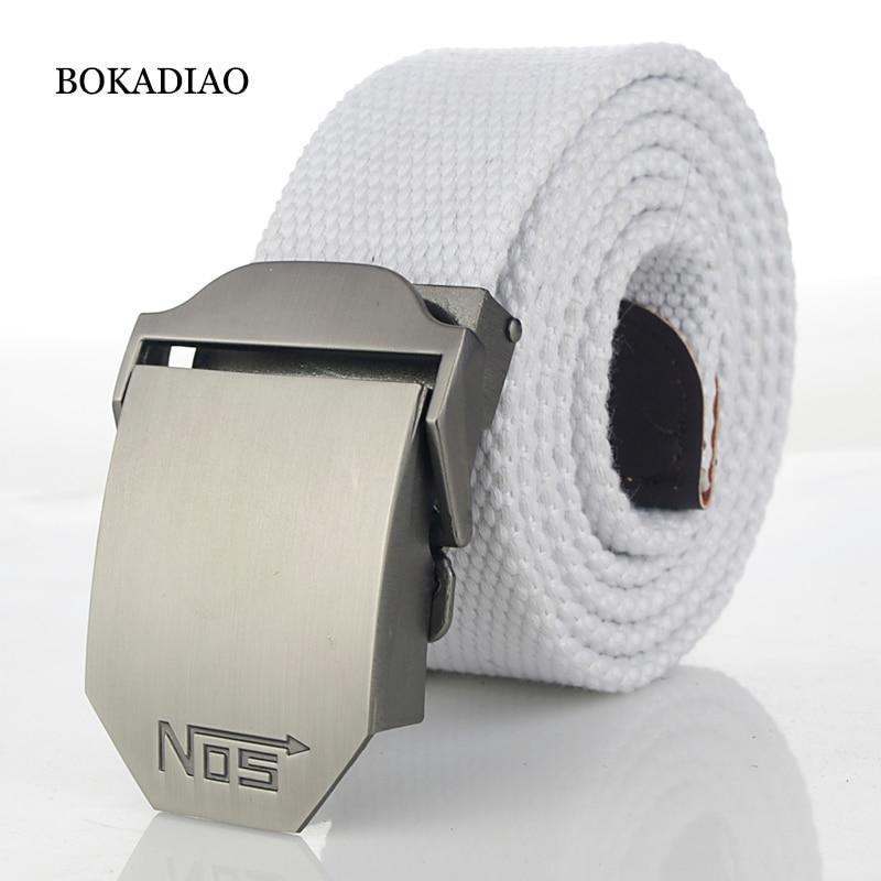 BOKADIAO Men&Women Military Canvas belt luxury Metal buckle jeans belt White Army tactical belts for women waistband strap male