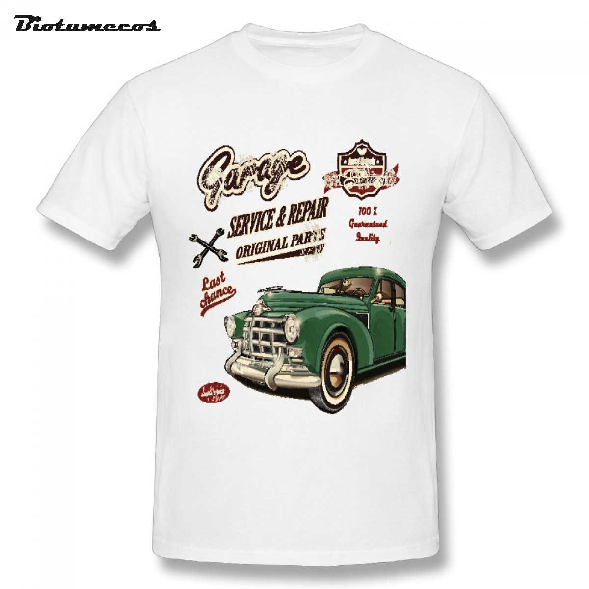 New Brand Men Tshirts Garage Last Chance Service Or Repair Original Paris Green Bubble Car Printed Top Clothing Mtcc081