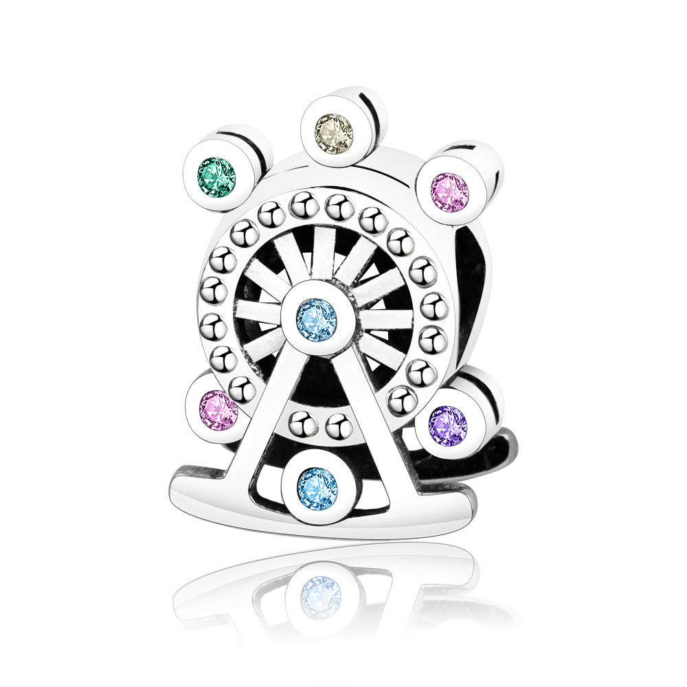 Fit Original Pandora Charms Bracelet 100% 925 Sterling Silver Ferris Wheel Charm Bead Multi-Colored Crystal DIY Jewelry Berloque цена 2017