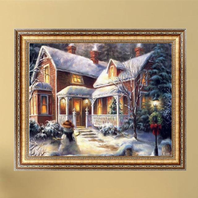 Weihnachten 5D Diamant Winter Schnee Haus Malerei Kit Stickerei Handarbeit  Home Wand Dekoration # H0VH #