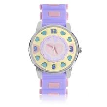 Девушка Желе Карамельный цвет 3D сердца узор резинкой аналоговые кварцевые часы спортивные повседневные наручные часы мультфильм детей часы
