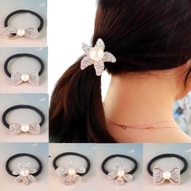 Quaste Haar Seil Ribbon Head Bands Perle Gold Blatt Pferdeschwanzhalter