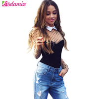 2017 Sexy Mesh Patchwork Bodysuit Top Black Fashion Dot Print Women Tops Turn Down Collar Long