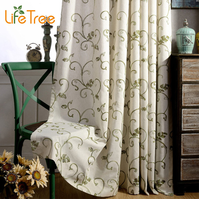 Green Curtains black and green curtains : Aliexpress.com : Buy Green & Grey Plant Vine Embroidered Pastoral ...
