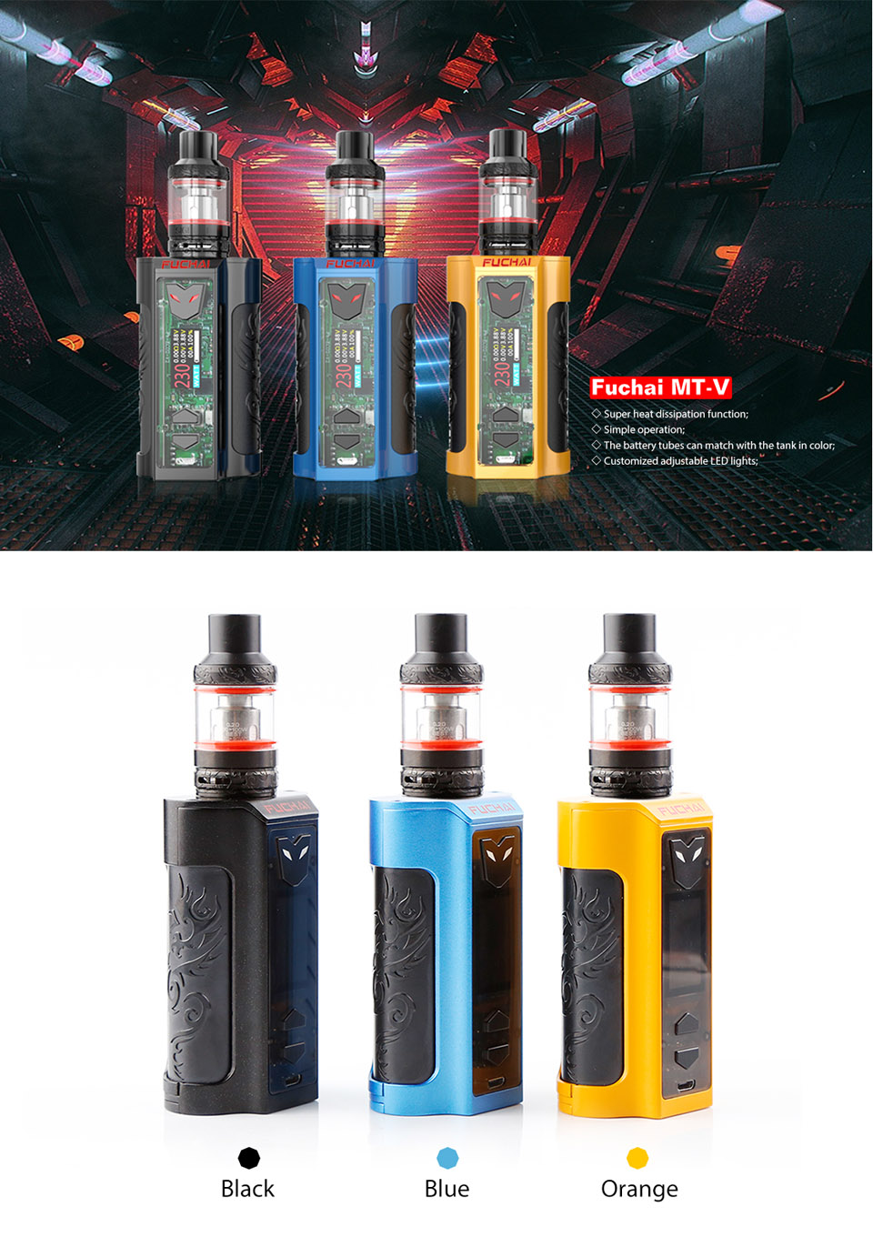 Super Vape kit e eletronic cigarette 220W SUPER POWER Mod + Atomizer original Sigelei Fuchai range fuchai MT KIT