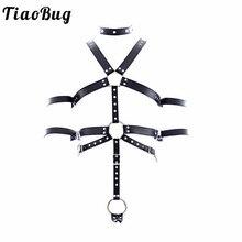 TiaoBug PU Leather Adjustable Sexy Bondage Men Full Body Chest Harness Restraint O-ring Rivet Collar Erotic Men BDSM Bondage Set